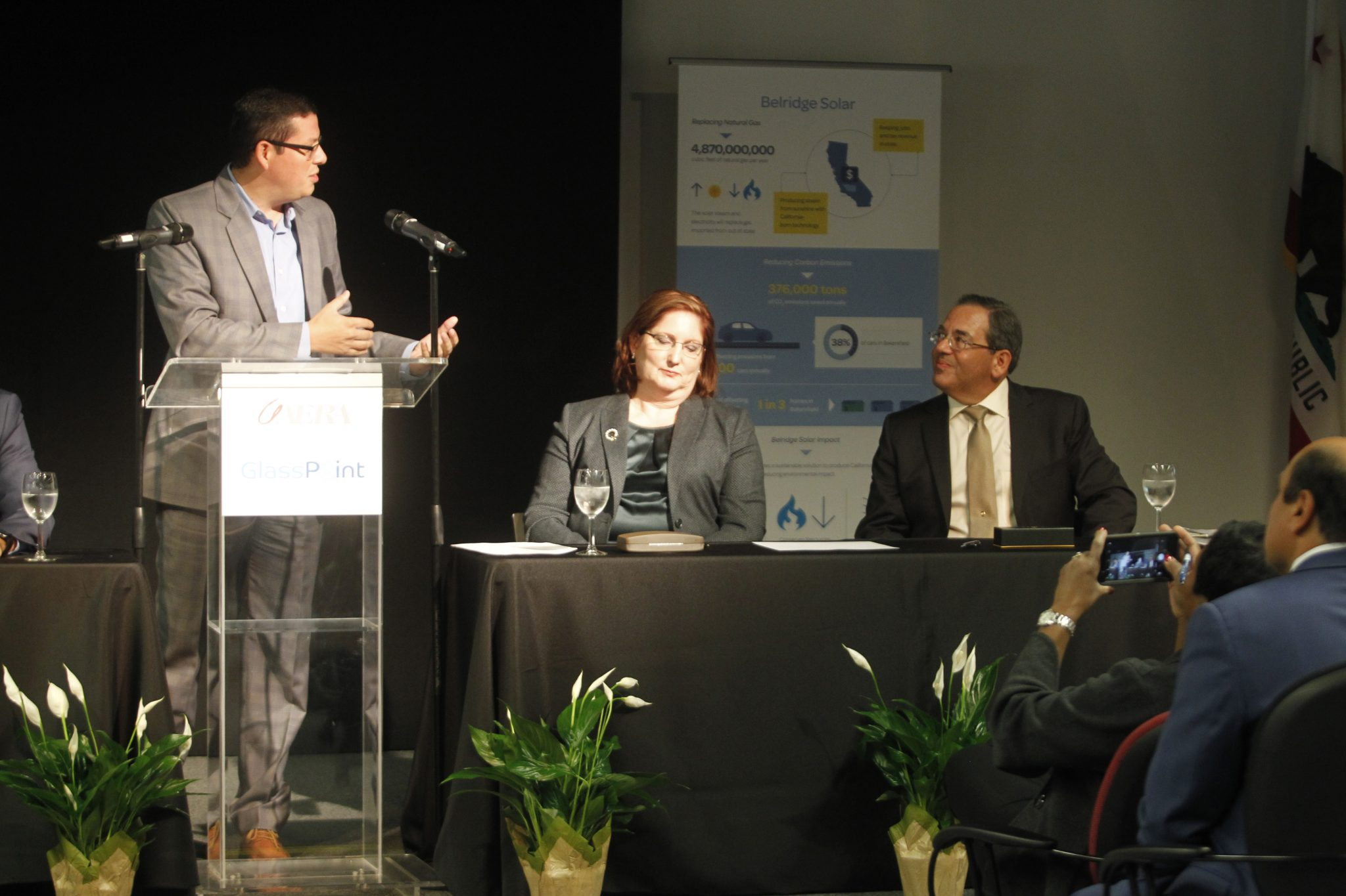 Assemblyman Rudy Salas, who represents the 32nd Assembly District, speaks at the announcement of the Belridge Solar project. From right, Aera President and CEO Christina Sistrunk and acting GlassPoint CEO Ben Bierman.