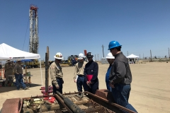 Students from the Colorado School of Mines listen to an employee from Weatherford explain a bridge plug completion system during a visit to the Belridge Producing Complex on May 15, 2018.
