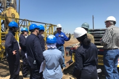 Students from the Colorado School of Mines learn about the rig process to run wells on a pump during a visit to the Belridge Producing Complex on May 15, 2018.