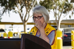 Taft Lion's Club President Susan Walker fights back a tear after the club received a re-fitted barbecue trailer that will help improve the club's fundraising efforts.