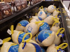 Turkeys at store