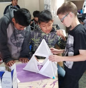San Lucas students learn about flight by building kites.
