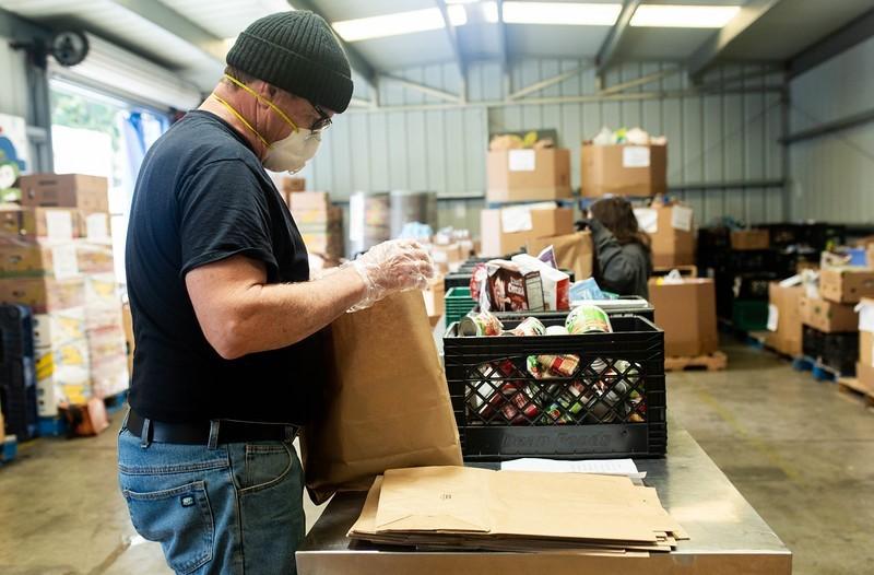 Foodbank volunteers are packing 6,000 grocery bags a week to help feed Santa Barbara County residents.