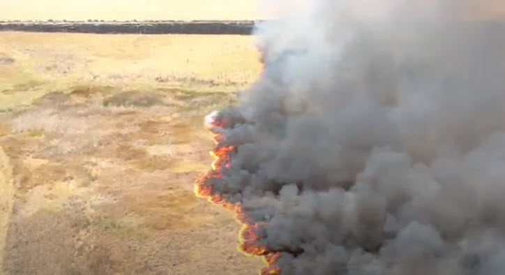 Drone footage of the wildfire near Mendota helps show firefighters on the ground where the blaze is headed.