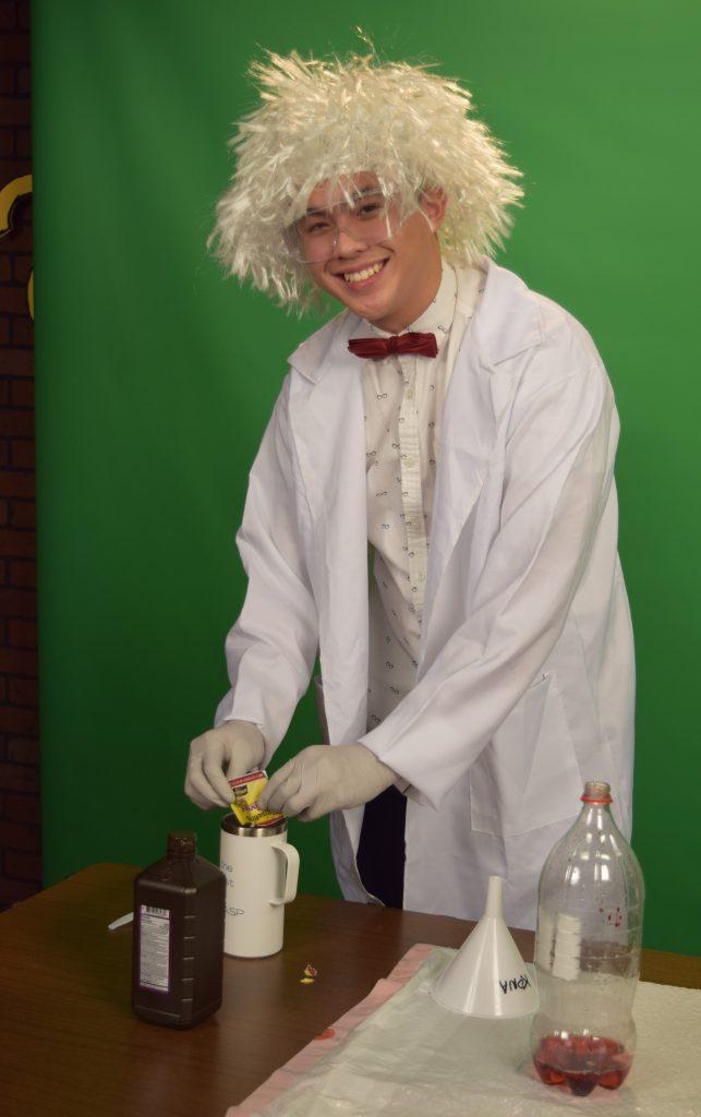 "Joachim Ma, a senior at Bakersfield's Highland High School, stars as ""Sid the Scientist"" in Team Aera's ""Full STEAM Ahead"" video."
