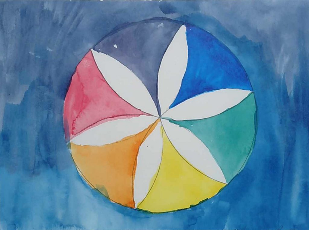 Students in the sixth through eighth grades at San Lucas School are learning important math concepts through painting with watercolors.