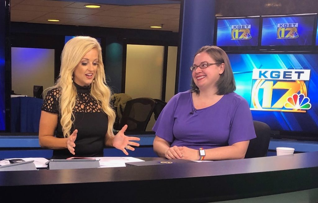 Emily Fisher, (right) a senior geologist at Aera Energy, talks earthquakes with KGET 17 Chief Meteorologist Alissa Carlson (left) during a live TV news segment.
