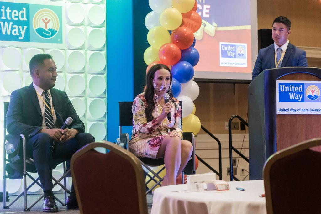 """Bakersfield city councilman Andrae Gonzales, (left) Jamie Swetalla, (center) public affairs coordinator for Aera Energy, and Bakersfield city councilman Eric Arias, take part in a """"Rebuilding post COVID-19"""" panel discussion at the 30th annual Community Professional Development Conference."""